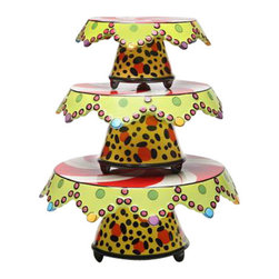 ATD - Small, Medium and Large Leopard Print Peppermint Cake Stand Set - This gorgeous Small, Medium and Large Leopard Print Peppermint Cake Stand Set has the finest details and highest quality you will find anywhere! Small, Medium and Large Leopard Print Peppermint Cake Stand Set is truly remarkable.