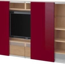 BESTÅ/INREDA TV storage combo with sliding doors - beech effect/high gloss red