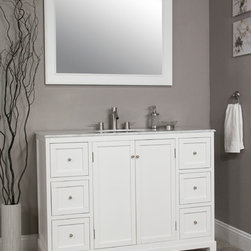 """47"""" TRADITIONAL WHITE BATHROOM VANITY - White colored cabinet that can give your bathroom remodeling a great new look. It comes with matching mirror space and popup drain assembly system too."""