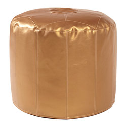 Howard Elliott - Shimmer Gold Tall Pouf Ottoman - Our Pouf Tall Ottomans are a great add on to any decor. They work as a Tall rest or extra seating. They are filled with polyester fiber and recycled EPS filler. Cover is 100% polyurethane metallic faux leather and removable for easy care. This Shimmer Gold piece is 100% polyurethane finished in shimmering gold faux leather. 22 in. Diameter x 18 in. H