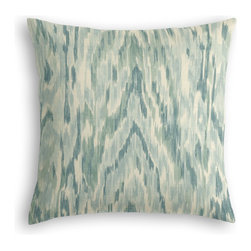 Aqua Dappled Watercolor Custom Pillow - The every-style accent pillow: this Simple Throw Pillow works in any space.  Perfectly cut to be extra fluffy, you'll not only love admiring it from afar but snuggling up to it too!  We love it in this dappled turquoise ikat evokes natural wonders from oasis mirages to precious geodes. a gem in modern, classic & eclectic rooms alike.