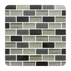 Design For Less - City Nights 1X2 Glass Subway Tiles - A warm and masculine gray, black and taupe 1x2 glass subway tile blend is perfect for a