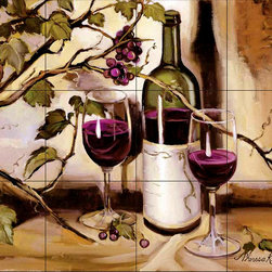 The Tile Mural Store (USA) - Tile Mural - Ripe From The Vine - Kitchen Backsplash Ideas - This beautiful artwork by Theresa Kasun has been digitally reproduced for tiles and depicts a nice wine scene.  Our decorative tiles with wine are perfect to use for your kitchen backsplash tile project. A wine tile mural adds elegance and interest to your kitchen wall tile area and makes a wonderful kitchen backsplash idea. Pictures of wine on tiles and images of wines bottles on tiles and wine glasses on tiles is timeless and these decorative tiles of wine blend with any decor. Your kitchen will come to life with a tile mural featuring wine.