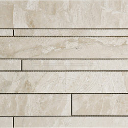 Windsor Mosaic Stone Tile - I like the unexpected random plank size of this stone mosaic tile. Would look great as a kitchen backsplash or as a wall tile in a modern bathroom.