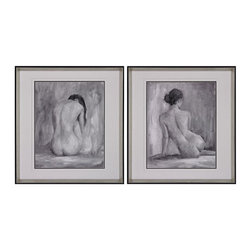 Sterling Industries - Sterling Industries 151-001/S2 Figure In Black And White Decor in Black - Figure In Black And White I And II -  Limited Edition Prints On Fine Art Paper. Signed And Numbered By The Artist. Edition Of 950. Framed In A Silver Frame With Black Edging And Under Glass. Top And Middle Matts Are White With A Black Bottom Matt To Define The Picture.
