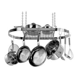 "Range Kleen - Stainless Steel Oval Pot Rack - Stainless Steel Oval Pot Rack includes 4 ceiling hooks  4 lengths of chair  4 ""S"" hooks and 12 pot hooks  pot rack dimensions 33"" L x 17"" W x 1.5"" H  This item cannot be shipped to APO/FPO addresses. Please accept our apologies."