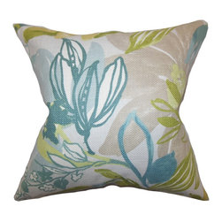 The Pillow Collection - Ebele Floral Pillow Blue Green - Decorate your living space with this lovely accent piece. This throw pillow comes with a floral pattern in shades of blue, green, flesh and white. This decor pillow is perfect for indoor use. Spruce up your living room or bedroom with a few pieces of this toss pillow. Made of 100% high-quality material. Easy to pair with solids and other patterns.