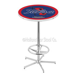 Holland Bar Stool - Holland Bar Stool L216 - 42 Inch Chrome Tulsa Pub Table - L216 - 42 Inch Chrome Tulsa Pub Table  belongs to College Collection by Holland Bar Stool Made for the ultimate sports fan, impress your buddies with this knockout from Holland Bar Stool. This L216 Tulsa table with retro inspried base provides a quality piece to for your Man Cave. You can't find a higher quality logo table on the market. The plating grade steel used to build the frame ensures it will withstand the abuse of the rowdiest of friends for years to come. The structure is triple chrome plated to ensure a rich, sleek, long lasting finish. If you're finishing your bar or game room, do it right with a table from Holland Bar Stool.  Pub Table (1)