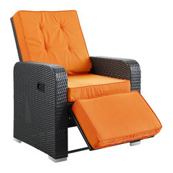 Commence Patio Outdoor Patio Armchair Recliner - Kick back and enjoy sunrays and pleasant drifts of wind in the Commence outdoor recliner. While televisions may not be as weather resistant, rest assured that your relaxation time won't be lacking without it. Commence features foam padded all-weather cushions, and a lean back mechanism that keeps you comfortably lounging with ease. Savor your beverage of choice, book or mid-day power nap, and refresh yourself with a synthetic rattan weave outdoor recliner made to your specifications.