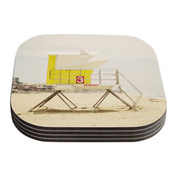 """Kess InHouse - Bree Madden """"Yellow Tower"""" Coasters (Set of 4) - Now you can drink in style with this KESS InHouse coaster set. This set of 4 coasters are made from a durable compressed wood material to endure daily use with a printed gloss seal that protects the artwork so you don't have to worry about your drink sweating and ruining the art. Give your guests something to ooo and ahhh over every time they pick up their drink. Perfect for gifts, weddings, showers, birthdays and just around the house, these KESS InHouse coasters will be the talk of any and all cocktail parties you throw."""