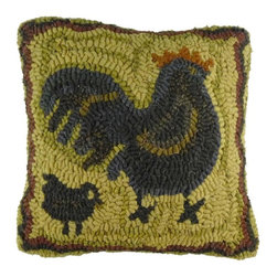 "Homespice Décor - Mother Hen Pillow, 12"" x 12"" - Our pillows make great accents for your home and add beauty and comfort. These unique pillows combine old world techniques such as appliques and hooking, with interesting designs to provide an exciting new decorating element.  Trim, never pull loose ends. What may appear as an irregularity color or construction is actually part of the ""Handmade"" look."