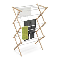 Honey Can Do - Wood Accordion Drying Rack 25 Linear Feet - 25 feet of drying space- fully assembled. Coated bars- prevents clothes from slipping. Lightweight. Folds to 3 inches flat- space saving storage. 29.13 in. x 14.17 in. x 42.52 in.
