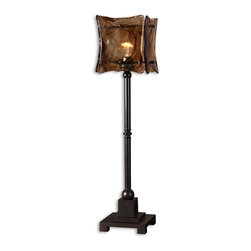 Uttermost - Vetraio Ii Oil Rubbed Bronze Buffet Lamp - Oil Rubbed Bronze Finish On Metal With A Square Toffee Art Glass Shade. Number Of Lights: 1, Shade: Square Glass Shade, Shade Size: Height: 8.625, Top: 7.125w X 7.125d, Bottom: 7.125w X 7.125d, Voltage: 110, Wattage: 60w, Bulbs Included: No