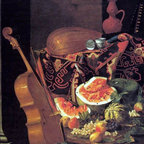 "Cristoforo Munari Still-Life with Musical Instruments Print - 16"" x 20"" Cristoforo Munari Still-Life with Musical Instruments and Fruit premium archival print reproduced to meet museum quality standards. Our museum quality archival prints are produced using high-precision print technology for a more accurate reproduction printed on high quality, heavyweight matte presentation paper with fade-resistant, archival inks. Our progressive business model allows us to offer works of art to you at the best wholesale pricing, significantly less than art gallery prices, affordable to all. This line of artwork is produced with extra white border space (if you choose to have it framed, for your framer to work with to frame properly or utilize a larger mat and/or frame).  We present a comprehensive collection of exceptional art reproductions byCristoforo Munari."