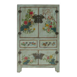 Golden Lotus - Chinese Hand Painted Birds & Flowers Graphic Wooden Cabinet Armoire - You are looking at a elegant Chinese hand painted birds & flowers graphic wooden cabinet.