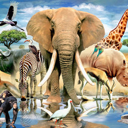 Murals Your Way - African Oasis Wall Art - Animals of all types enjoy camaraderie at a watering hole in this wall mural