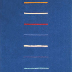 Majestic - Hand-tufted Stripes Blue Wool Rug (5' x 8') - Stripes rug features plush 100-percent wool pile Rug hand-loomed and hand-tufted by master craftsmen in India Rug displays a contemporary pattern in royal blue,orange white,red,light blue and purple