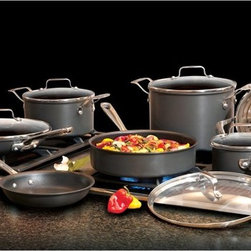 Emeril - Emeril Hard Anodized Nonstick Scratch Resistant 12 Piece Cookware Set Multicolor - Shop for Cookware Sets from Hayneedle.com! Rugged and low-maintenance the Emeril Hard Anodized Nonstick Scratch Resistant 12 Piece Cookware Set will quickly become your best friend in the kitchen. Featuring easy-pour spouts clear glass lids and a scratch-resistant non-stick hard anodized aluminum construction this cookware set makes both cooking and cleanup easier.Set includes: 8-in. fry pan 10-in. fry pan with lid 1-qt. sauce pan with lid 3-qt. casserole with lid 3-qt. steamer insert 3-qt. saute pan with lid and 6-qt. stockpot with lidAbout EmerilwareYou've probably seen him in on TV or maybe you've dined at one of his restaurants. Emeril Legasse is a renowned chef cooking show host and owner of 11 acclaimed restaurants. Throughout his diverse culinary career Emeril has mastered everything from bread- and pastry-making to the classic art of French cuisine. The celebrity chef is also the creator of his own premium cookware brand Emerilware. The Emerilware product line is known for its quality performance and design. From pots and pans to bread makers and blenders each piece is inspired by Emeril's passion for cooking and entertaining.