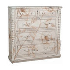 "Guildmaster - Tall Wall Chest by Guildmaster - Create a relaxing environment with subtle hand painted ochre florals vining across the vintage blanc distressed finish on this Tall Wall Chest by Guildmaster. Built of solid wood, the spindle trim and details bordering the drawers add to the old world charm. (GM) 48""h x 48""w x 12""d"