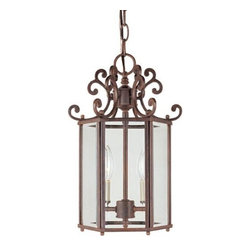 Joshua Marshal - Two Light Walnut Patina Clear Beveled Glass Framed Glass Foyer Hall Fi - Two Light Walnut Patina Clear Beveled Glass Framed Glass Foyer Hall Fi