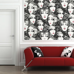 None - Vintage Faces Wall Tiles - Wallpaper tiles are a fun and carefree way to decorate any room. Along with being easy to install,reusable and 100-percent removable,the vintage faces wall tile can be cut and collaged to fit in any space.