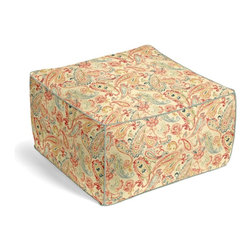 Red Multicolor Paisley Square Pouf - The Square Pouf is the hottest thing in decor since the sectional sofa. This bean bag meets Moroccan style ottoman does triple duty as a comfy extra seat, fashion-forward footstool, or part-time occasional table.  We love it in this classic multicolor paisley linen that plays nice with decor from traditional to eclectic.