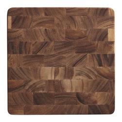 End Grain Chopping Board - Butcher-block integrity featuring extra-strength construction in beautiful end-grain acacia wood. Rich natural contrasts in tone render each thick, footed chopping board unique. A great prep station that translates well to the table or buffet.
