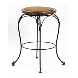 Trade Wind Treasures - Backless Swivel Stool with Cane Seat (24 in.) - Choose Seat Height: 24 in.. This simply designed stool features a swivel seat that is padded and covered with attractive woven cane. Curved legs and a hardwood construction make this item as durable as it is stylish. Comes in an attractive finish to match your home. Backless solid steel frame with a black powder baked finish. Hardwood trim in a soft brown finish. Woven cane, padded seat, swivel