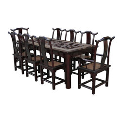 Vintage Chinese Rattan Open Carving Panel Center Dinning Set - This dark brown elm wood dinning table set is featuring the use of old open space Ru-Yi carving panel in the center. Light brown color rattan is mixed with solid elm wood to increase the touch of Asian element. There are six pieces of guest chairs and two pieces of master chairs. They all follow the style of traditional Chinese high yoke-back armchair with elegant S-shaped splat.