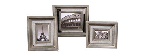 Uttermost - Hasana Antique Silver Photo Frame Set of 3 - A picture may speak a thousand words, but the frame says even more. These beautiful frames are antique mirrors surrounded by silver leaf on wood. They will reflect your passion for your favorite photos.