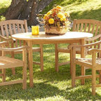 Southern Enterprises - Holly and Martin 5-Pc Patio Dining Set - Includes round table and four chairs. Maximum weight capacity for each chair: 250 lbs.. Warranty: One year limited. Made from 100% teakwood. Light brown finish. Made in Indonesia. Assembly required. Table: 48 in. Dia. x 29 in. H. Chair seat height: 17 in.. Chair: 23 in. W x 22.75 in. D x 35 in. HEnjoy the comfort simple good looks and durability of this patio set. Complete with a round table and four sturdy chairs this set is just the right size for a patio. Since the wood is constructed of solid teakwood that is both water and weather resistant the set will remain structurally sound for many years to come.