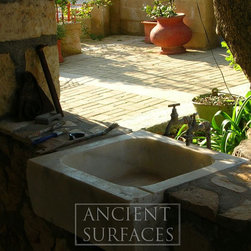 French Country Limestone Sink outdoor BBQ Kitchen Sink 'Al Fresco' 2 - Those are the crème de la crème of ancient marble and stone sinks. Their composition, textures and subject are unique. If you want to own a fine sink that is both functional and art historic for your master bath, powder or kitchen look no further. Contact us at: (212) 461-0245 or by email at: sales@ancientsurfaces.com you can also visit our website at: www.Asurfaces.com
