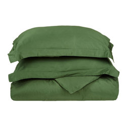 400 TC Egyptian Cotton King/Cal-King Hunter Green Solid Duvet Cover Set - 400 Thread Count Egyptian Cotton King/Cal-King Hunter Green Solid Duvet Cover Set