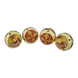 Set of 4 Harlequin Jester Themed Home Decor Balls 3.5 In. - This quartet of resin decor balls features a jester theme and looks wonderful displayed on decorative plates and trays, in glass apothecary jars and bowls, or on shelves and desks. Each ball measures 3 1/2 inches in diameter and is hand painted. The set makes a great housewarming gift, and is sure to be admired.