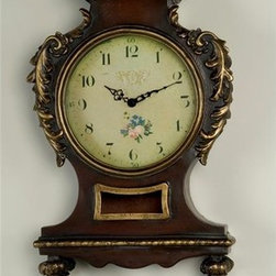AA Importing - Antique Look Wall Clock in Mahogany Finish w - Dark finish resin has gilt trim, carved design and 2 child figures at the top. Battery operated. Hanging hardware included. 213 in. L x 3.5 in. W x 36 in. H