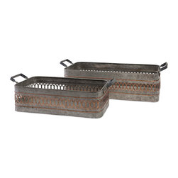 iMax - Stanley Iron Bins, Set Of 2 - A pair of industrial chic iron Bins make for a sturdy storage option with timeless appeal.