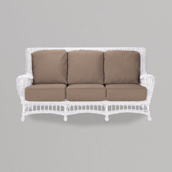 """Gazebo sofa - In traditional style, the Gazebo Sofa will look great on a porch, outdoor or even indoors for a relaxed cottage look.  Designed in vinyl """"wicker"""" for all-weather wear."""
