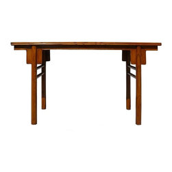 Golden Lotus - Chinese Natural Wood Plain Altar Console Table - This is a simple clean side sofa table with round column shape legs. It shows off the light brown wood color and the wood pattern.