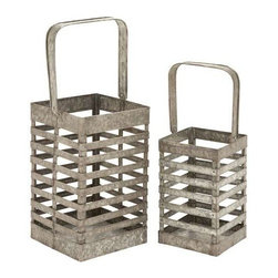 """Benzara - Simple Metal Galvanized Lantern - Set of 2 - Simple Metal Galvanized Lantern - Set of 2. This elegant metal Galvanized lantern is sure to make a stunning decor accent. It comes with following dimensions: 8"""" W x 8"""" D x 19"""" H. 6"""" W x 6"""" D x 15"""" H."""