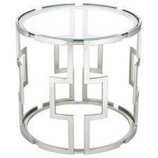 Geometric Tempered Glass End Table