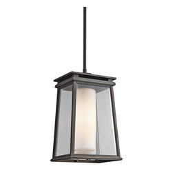 Kichler 1-Light Outdoor Fixture - Rubbed Bronze Exterior - One Light Outdoor Fixture Give. The outside of your home some sophisticated style with this modern/contemporary outdoor pendant light by lighting. As part of the lindstrom collection, this light fixture features sleek clear beveled outside glass with satin etched opal inside glass. Its rubbed bronze finish enhances its modernity.