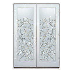 "Glass Front Entry Doors - Frosted Obscure Etched Glass - Banana Leaves Pinstripe - Glass Front Doors, Entry Doors that Make a Statement! Your front door is your home's initial focal point and glass doors by Sans Soucie with frosted, etched glass designs create a unique, custom effect while providing privacy AND light thru exquisite, quality designs!  Available any size, all glass front doors are custom made to order and ship worldwide at reasonable prices.  Exterior entry door glass will be tempered, dual pane (an equally efficient single 1/2"" thick pane is used in our fiberglass doors).  Selling both the glass inserts for front doors as well as entry doors with glass, Sans Soucie art glass doors are available in 8 woods and Plastpro fiberglass in both smooth surface or a grain texture, as a slab door or prehung in the jamb - any size.   From simple frosted glass effects to our more extravagant 3D sculpture carved, painted and stained glass .. and everything in between, Sans Soucie designs are sandblasted different ways creating not only different effects, but different price levels.   The ""same design, done different"" - with no limit to design, there's something for every decor, any style.  The privacy you need is created without sacrificing sunlight!  Price will vary by design complexity and type of effect:  Specialty Glass and Frosted Glass.  Inside our fun, easy to use online Glass and Entry Door Designer, you'll get instant pricing on everything as YOU customize your door and glass!  When you're all finished designing, you can place your order online!   We're here to answer any questions you have so please call (877) 331-339 to speak to a knowledgeable representative!   Doors ship worldwide at reasonable prices from Palm Desert, California with delivery time ranges between 3-8 weeks depending on door material and glass effect selected.  (Doug Fir or Fiberglass in Frosted Effects allow 3 weeks, Specialty Woods and Glass  [2D, 3D, Leaded] will require approx. 8 weeks)."