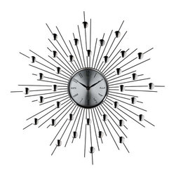Modway - Starburst Wall Clock in Silver Black - Distinct spheres of influence form a constellation of meaning in this retro modern work. Charged metal silver-toned rays meet planet-like objects on the pathway toward outer worlds. Full of expression and vitality, the Starburst clock is a distinct piece for any emblematic home.