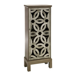 Lorella Mirror Front Cabinet - Inspired by the New York Central Park bridge, the elegant antiqued mirror is crafted in a continuous elliptical pattern and the open face is reminiscent of art deco styling.