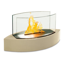 Anywhere Fireplace - Lexington 90203 - Tabletop Bio-ethanol Fireplace | Anywhere - Anywhere Fireplace Lexington 90203 Tabletop Bio-Ethanol Fireplace features contemporary high gloss beige and glass design using eco-friendly bio-ethanol fuel.�Forget about candles and other table top accents to add ambiance. The Lexington model Anywhere FireplaceTM�brings you all the tabletop elegance you are looking for with its distinctive shape, high gloss white finish and its real flames. Enjoy the ambiance of a real fire but without the hassle of smoke, melting wax, soot, ash, smell etc. Use it on the dinner table or a coffee table.The possibilities are endless with the Lexington from Anywhere FireplaceTM. It will suit any decor and enhance any dinner party. Makes a great gift too. Manufacturer: Anywhere FireplaceMeasures: 20 in. width x 8 in. depth x 9.5 in. heightFuel�- ONLY�Use liquid-bio-ethanol fuel - not includedLocation:�Indoors/Outdoors