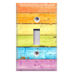 Rainbow Wood Light Switch Plate Cover by Crazy 8Z Decor - It's wood. It's rainbow. It's awesome.