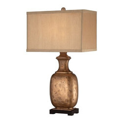 Ambience - Ambience 13036-0 1 Light Dark Tan Faux Silk Table Lamp - Features: