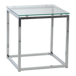 Euro Style - Euro Style Sandor Side Table X-23082 - The proportions of these three tables (coffee, side and console) are iconic to say the least.  Tops in clear or pure white glass float on perfectly geometric chrome steel bases.  We're talking Museum of Modern art here.  Not really.  But it's the right thing to do.