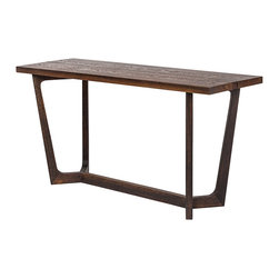 Kathy Kuo Home - Jaxon Industrial Loft Rustic Burnt Oak Wood Console Table - This Industrial seared oak console table is elegant behind a sofa and enchanting next to a staircase. The rich, brown oak base offers extra support for the long, slim silhouette, creating the perfect display area for photographs and other favorite finds. We also love it with a serving tray holding coffee and tea.