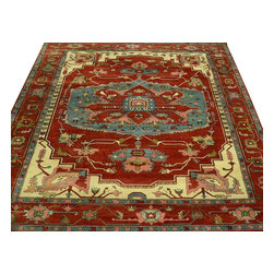 Oriental Rug, 9'X12' Rust Red Serapi Heriz Hand Knotted 100% Wool Rug SH10035 - This collections consists of well known classical southwestern designs like Kazaks, Serapis, Herizs, Mamluks, Kilims, and Bokaras. These tribal motifs are very popular down in the South and especially out west.